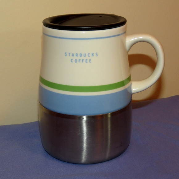 Starbucks 2005 Ceramic & Stainless Steel with Lid Coffee Mug